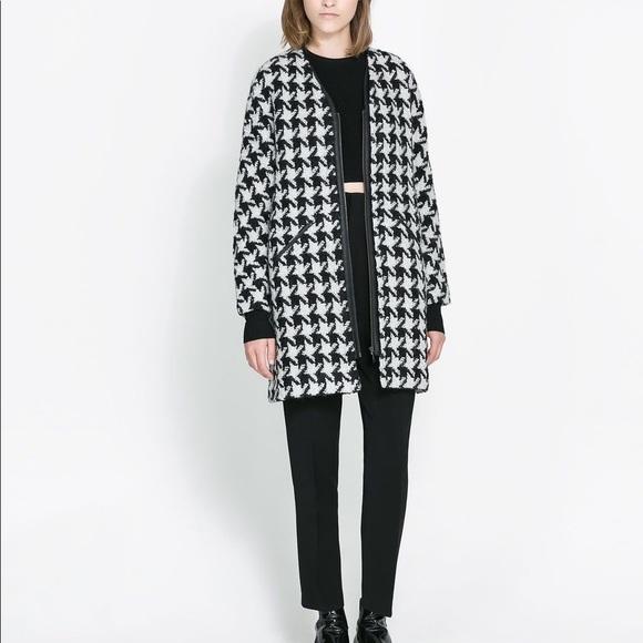 Zara Jackets & Blazers - NWOT Zara Houndstooth Wool Blend Coat